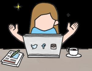 パソコンの前で喜ぶ女性のイラスト