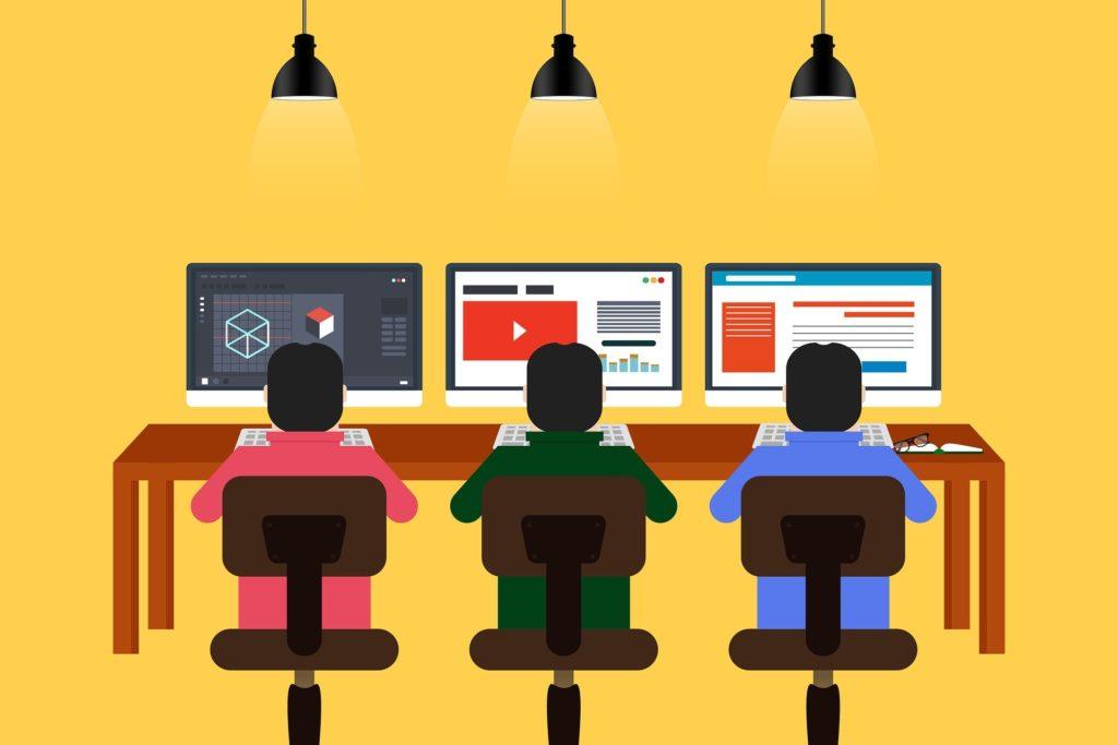 プログラミング学習やPC作業をを3人でしているイラスト